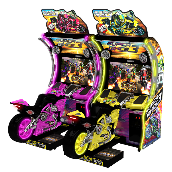 Super Bikes 3 Double/Twin Bikes Pink and Yellow - Raw Thrills - Betson Enterprises